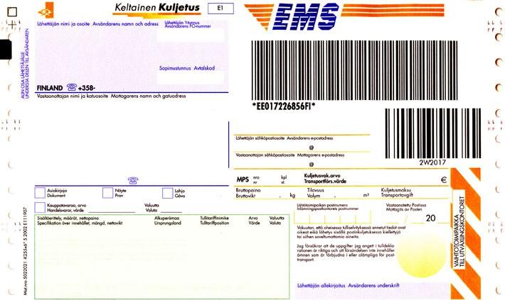 EMS-paket adresskort