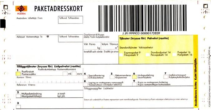 Paketadresskort inrikes